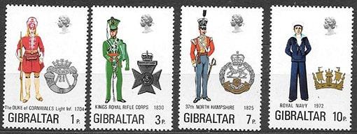 Гибралтар 1972 год. Военная форма, 4 марки