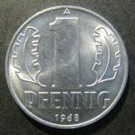 Монета 1 пфенниг 1968 года. ГДР