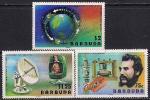 Барбуда 1977 год. 100 лет изобретению телефона. Александр Белл. 3 марки