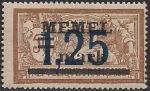 Германия Рейх (Мемель) 1922 год. НДП нового номинала (1.25 марок) на марке с номиналом 50 сантимов. 1 марка с наклейкой из серии