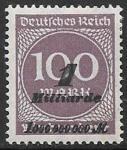 Германия 1923 год. Стандарт. Надпечатка - измененный номинал, 1 марка