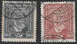 Рейх. Германия 1924 год. Генрих фон Стефан. Почтмейстер и соучредитель ВПС, 2 гашеные марки
