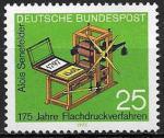 ФРГ 1972 год. 175 лет плоской печати. Печатный станок, 1 марка