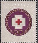 ФРГ 1963 год. 100 лет Международному Красному Кресту. Символическое изображение креста в лучах солнца. 1 марка