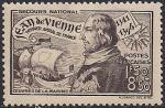 Франция 1942 год. 600 лет адмиралу Жану Виену. 1 марка с наклейкой