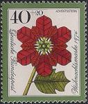 ФРГ 1974 год. Рождество. Рождественская звезда в виде розы. 1 марка