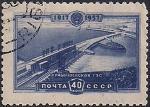 СССР 1957 год. Волжская гидроэлектростанция (№2016). 1 гашёная марка