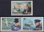Мальдивы 1974 год. 100 лет со дня рождения Уинстона Черчилля. 3 марки (Ю)