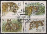 Россия 1993 год. Уссурийский тигр. 4 гашеные марки в сцепке