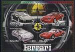 """Малави 2012 год. Автомобили  """"Феррари""""  разных моделей. 1 малый лист"""