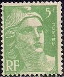 """Франция 1945 год. Стандарт. """"Марианна"""" - символ Франции (ном. 5). 1 марка из серии с наклейкой"""