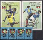 Антигуа и Барбуда 1990 год. Победители ЧМ по футболу в Италии. 2 блока и 4 марки