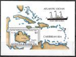 Антигуа и Барбуда 1985 год. Карта. Океан и Карибское море. Корабль Британия, блок