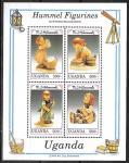Уганда 1992 год. Фарфоровые статуэтки, блок