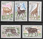 Мали 1965 год. Млекопитающие животные, 5 марок