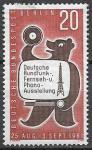 ФРГ. Берлин 1961 год. Выставка теле и радио вещания. Медведь, 1 марка. наклейка