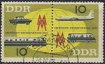 ГДР 1963 год. Лейпцигская осенняя ярмарка. Транспорт. Сцепка из двух гашёных марок