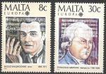 Мальта 1985 год. Европа СЕПТ. Европейский год музыки. Композитор и тенор, 2 марки