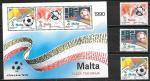 Мальта 1990 год. Чемпионат Мира по футболу в Италии, блок и 3 марки