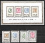 Мальта 1985 год. 100 лет почте Мальты, блок и 4 марки