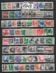 Годовой набор марок 1949 год. Гашеный без блоков, стандарта и №№ 1345-46