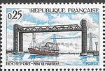 Франция 1968 год. Подъемный мост Марту, Корабль, 1 марка