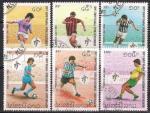 Лаос 1990 год. ЧМ по футболу в Италии. 6 гашеных марок