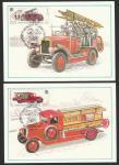 """пять  Картмаксимумов. История пожарного транспорта. Спецгашение """"ПД"""" 18.12.1985 г."""