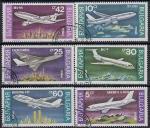 Болгария 1990 год. Самолёты. 6 гашёных марок (Ю)