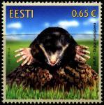 Эстония 2019 год. Фауна Эстонии. Крот. 1 марка (EE0749)
