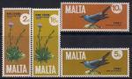 Мальта 1971 год. Местная природа - синий дрозд, подснежник. 4 марки