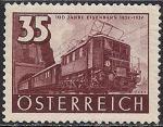 Австрия 1937 год. 100 лет австрийским железным дорогам. Паровоз. 1 марка с наклейкой из серии (номинал 35)