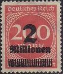 Германия (Рейх) 1923 год. Стандарт (ном. 200). Надпечатка дополнительного номинала. 1 марка из серии