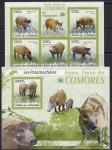 Коморы 2009 год. Дикие свиньи. 1 малый лист + блок без зубцов