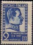Финляндия 1937 год. 70 лет со дня рождения Г. Маннергейма. 1 марка с наклейкой