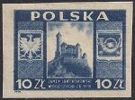 Польша 1946 год. Исторические памятники. Замок Ланкорона. 1 марка с наклейкой без зубцов