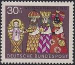"""ФРГ 1972 год. Рождество. """"Три Святых Короля"""" у колыбели младенца Иисуса. 1 марка"""