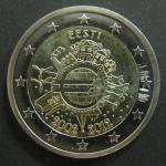 2 евро. Эстония. 2012 год. 10 лет евро