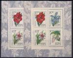 СССР 1971 год. Тропические растения (бл76). Блок с наклейкой. Разновидность - желтый фон на правом блоке.