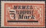 Германия Рейх (Мемель) 1922 год. НДП нового номинала (4 марки) на марке с номиналом 2 франка. 1 марка с наклейкой из серии