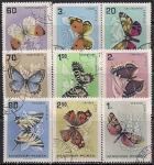 Венгрия 1966 год. Бабочки. 9 гашёных марок