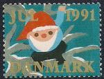 Дания 1991 год. Непочтовая рождественская марка. Санта-Клаус