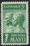США 1964 год. День смерти братьев Майо. 1 марка с наклейкой