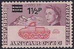 Британские антарктические территории 1971 год. Исследование Антарктики. Снегоход. 1 марка из серии с надпечаткой номинала (н-л 1 1/2)