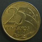 Монета 25 сентаво 2014 г. Бразилия