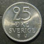 Монета 25 ore 1973 года . Швеция. Густав VI Адольф