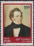 Индия 1978 год. 150 лет со дня смерти Франца Шуберта. 1 марка