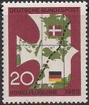ФРГ 1963 год. Открытие кратчайшего сообщения между Германией и Копенгагеном. 1 марка