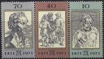 ГДР 1971 год. 500 лет со дня рождения Альбрехта Дюрера. Картины. 3 марки