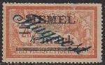 Германия Рейх (Мемель) 1922 год. Авиапочта. НДП нового номинала (4 марки) на марке с номиналом 2 франка. 1 марка с наклейкой из серии